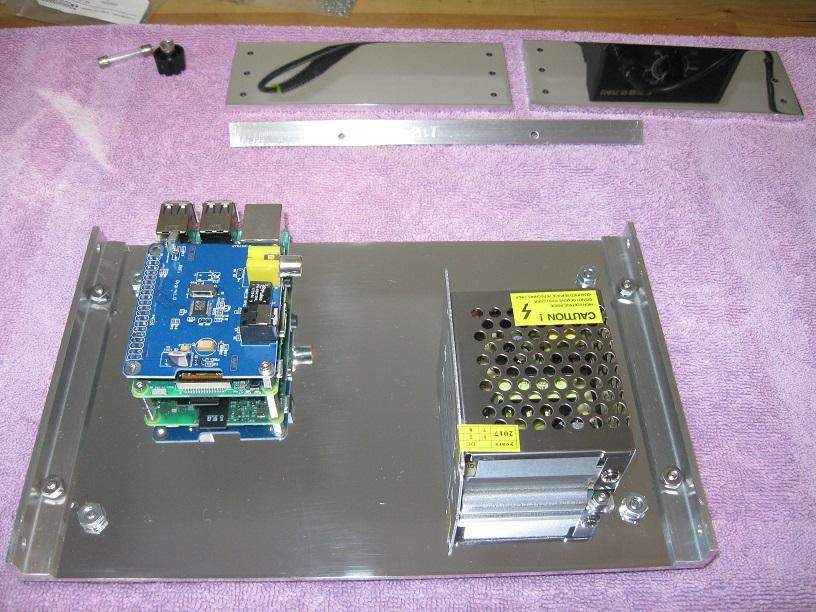 Custom built case for Raspberry Pi music streamer-base_plate_assembled-jpg