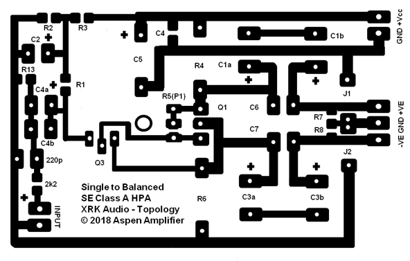 Balanced Drive 2 Transistor SE Class A Headphone Amp-copper-etch-png