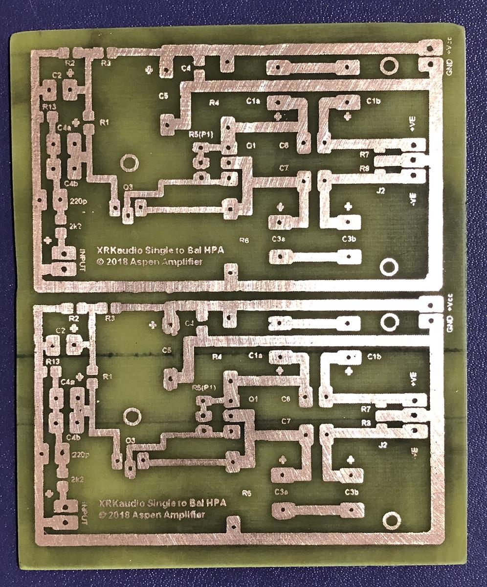 Balanced Drive 2 Transistor SE Class A Headphone Amp-copper-etch-result-jpg