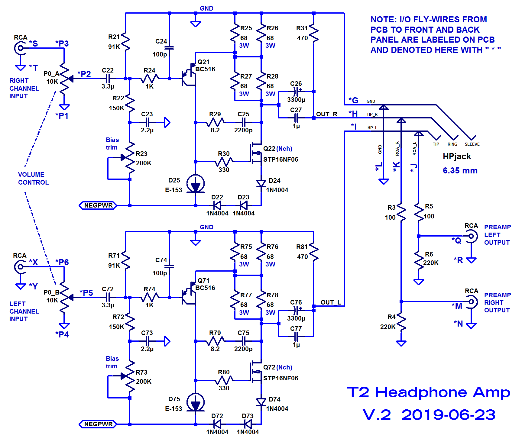 Single ended class-A headphone amp using two transistors: T2-hpa_blue_sch_p1_revb-png
