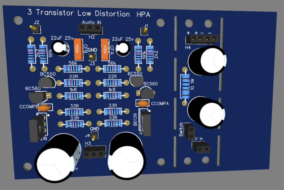 3 Transistor HP Amplifier with low dist-pcb-jpg